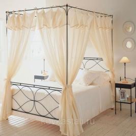 Кованая кровать с каркасом под балдахин
